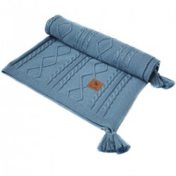 Knitted Blanket 75x100cm Navy Fancy