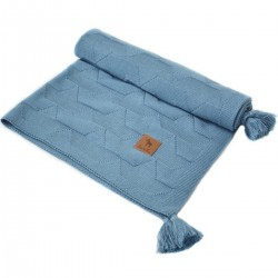 Knitted Blanket 75x100cm Navy Paper Boats