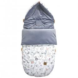 Stroller Bag Grey Tender Friends Velvet L/XL (1-3 years)