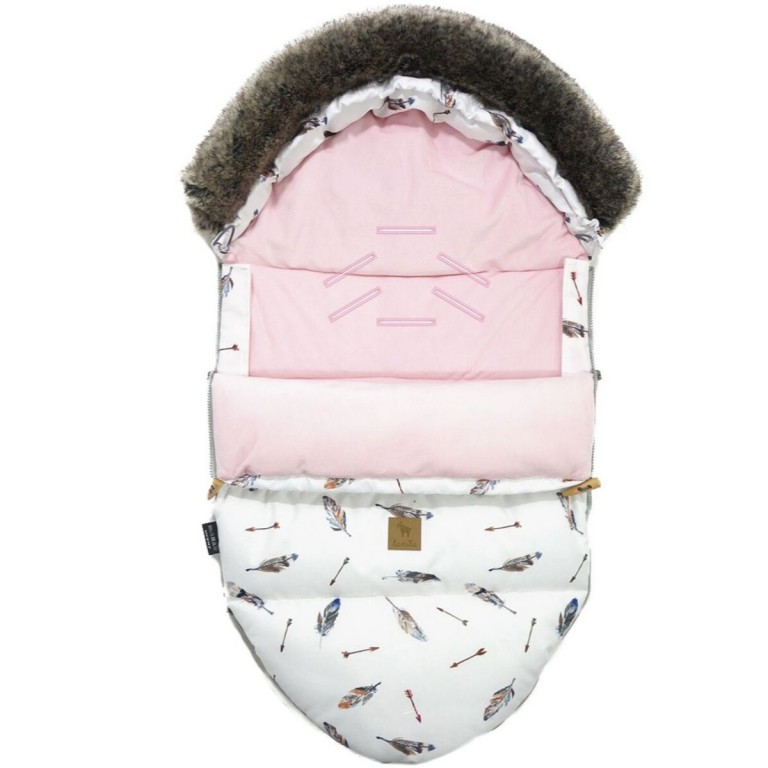 Stroller Bag with Fur S/M (0-1 year) Pink Pure Velvet