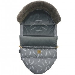 Stroller Bag with Fur S/M (0-1 year) Dark Grey Feathers Velvet
