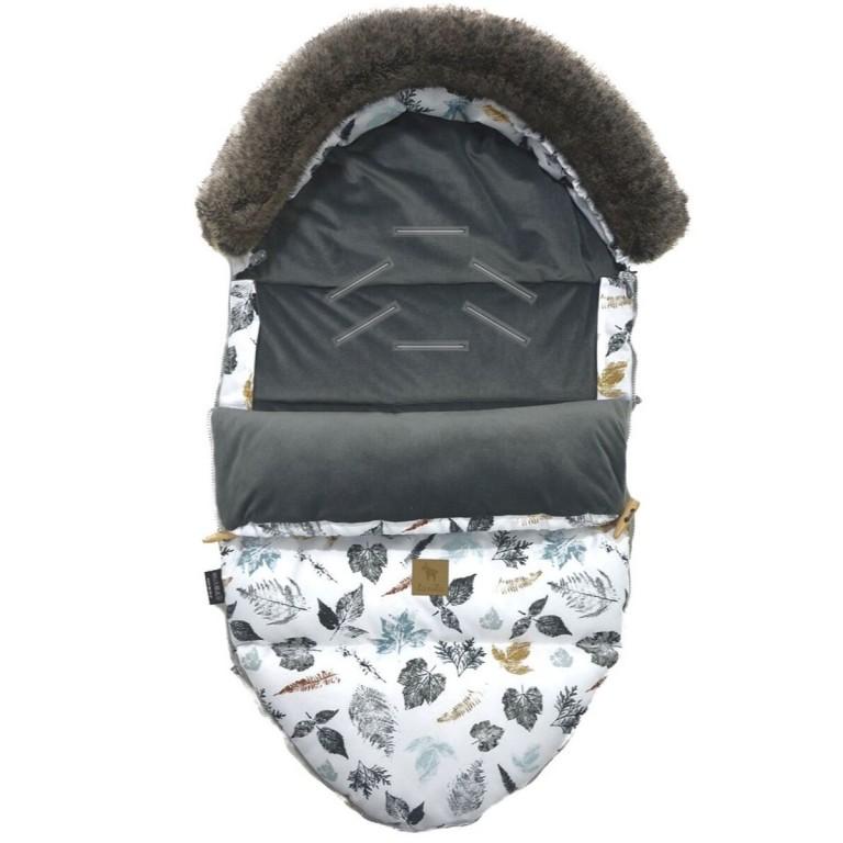 Stroller Bag with Fur S/M (0-1 year) Dark Grey Goldenprint Velvet