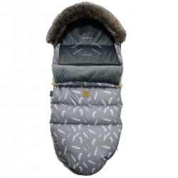 Stroller Bag with Fur Dark Grey Feathers Velvet L/XL (1-3 years)
