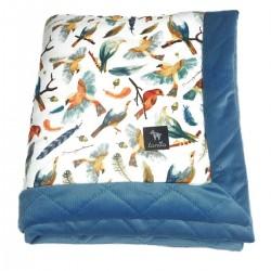 Newborn Blanket 60x70cm Blue Birdies - Velvet