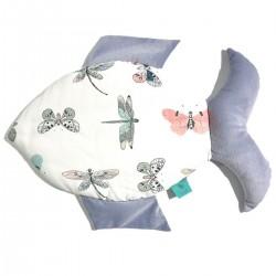 Fish 100% Bamboo Pillow Velvet Grey Wings