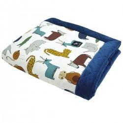 Newborn Blanket 60x70cm Navy In the Zoo - Velvet