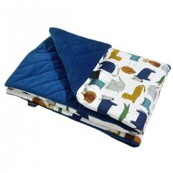 Preschooler Blanket 100x130cm Navy In the Zoo - Velvet
