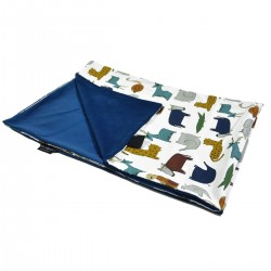 Newborn Blanket Light 60x70 Navy In the Zoo - Velvet