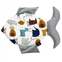 Fish Pillow Silver In the Zoo - Velvet