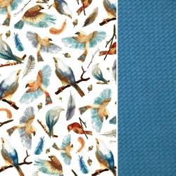 Stroller Pad Blue Birdies - Velvet