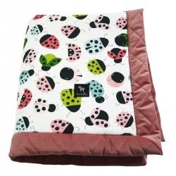 Newborn Blanket 60x70cm Dusty Rose Ladybird - Velvet