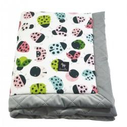 Newborn Blanket 60x70cm Silver Ladybird - Velvet