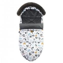 Stroller Bag with Fur Dark Grey Goldenprint L/XL (1-3 years)