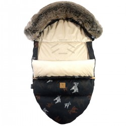 Stroller Bag with Fur S/M (0-1 year) Latte Follow the Zebra Velvet
