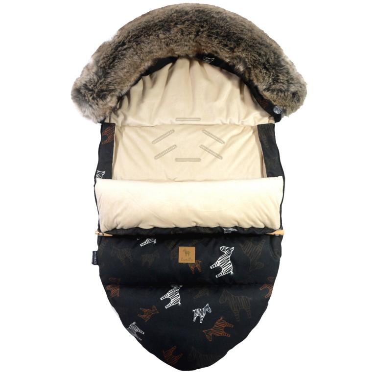 Stroller Bag with Fur S/M (0-1 year) Latte Follow the Zebra Velvet