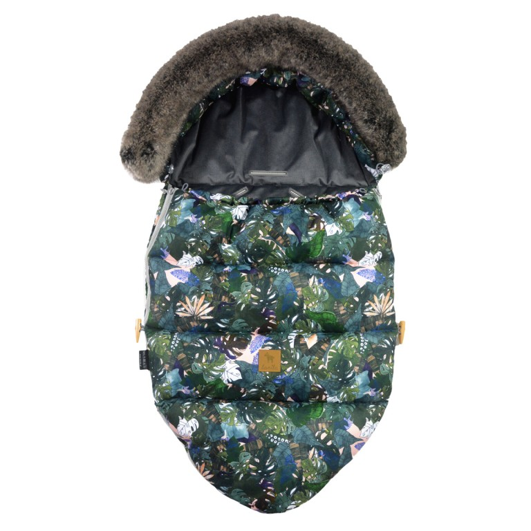 Stroller Bag with Fur S/M (0-1 year) Dark Grey Rainforest Velvet