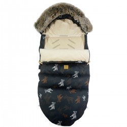 Stroller Bag with Fur Latte Follow the Zebra Velvet L/XL (1-3 years)