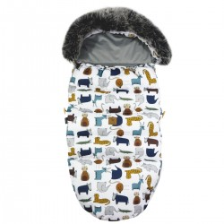 Stroller Bag with Fur Silver In the Zoo Velvet L/XL (1-3 years)