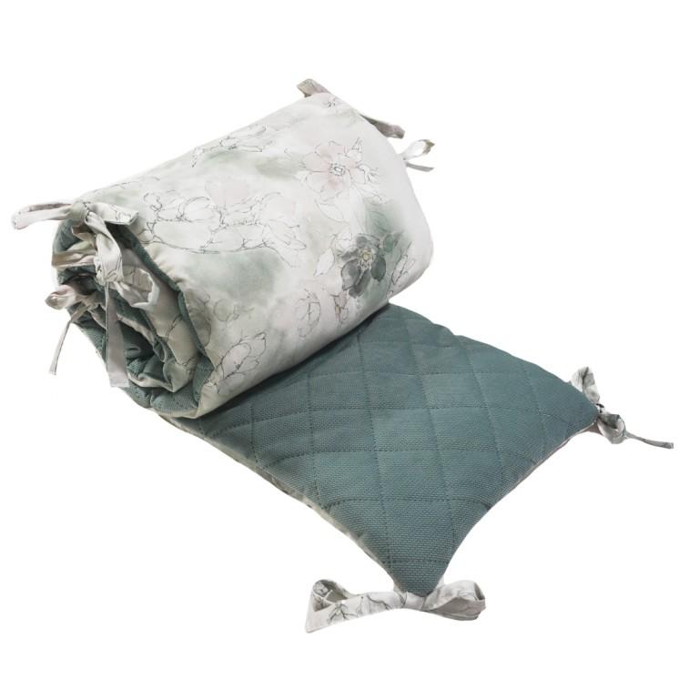Ochraniacz do łóżeczka 70x140cm - Velvet khaki Flower Jam