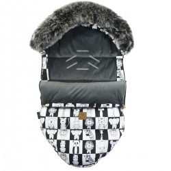 Stroller Bag with Fur S/M (0-1 year) Dark Grey Wonderland Velvet