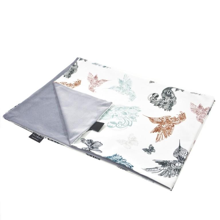 Kocyk Letni Grey Mandala Birds 60x70cm - Velvet