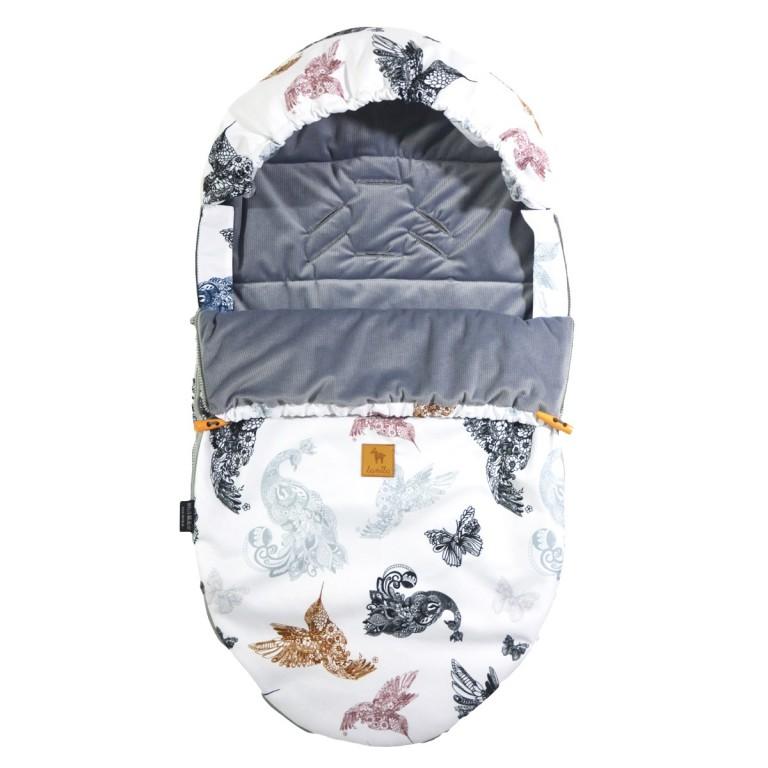 Spring Stroller Bag S/M (0-1 year) Grey Mandala Birds Velvet