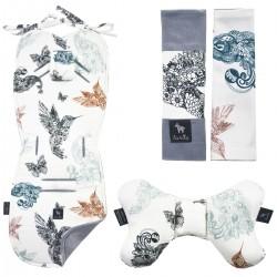 Zestaw Wkładka + Motyl + Pasy Grey Mandala Birds - Velvet