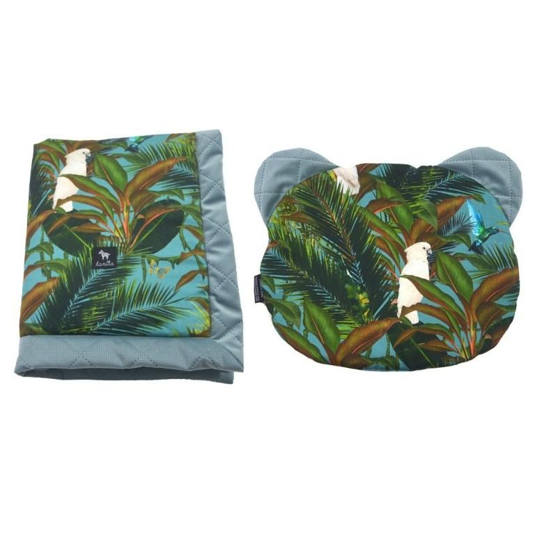 Zestaw Kocyk Velvet 60x70cm + Poduszka Miś Khaki Tropical