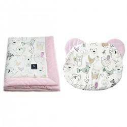 Zestaw Kocyk Velvet 60x70cm + Poduszka Miś Pink Tender Friends