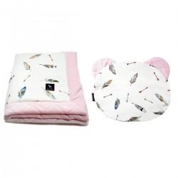 Zestaw Kocyk Velvet 60x70cm + Poduszka Miś Pink Pure