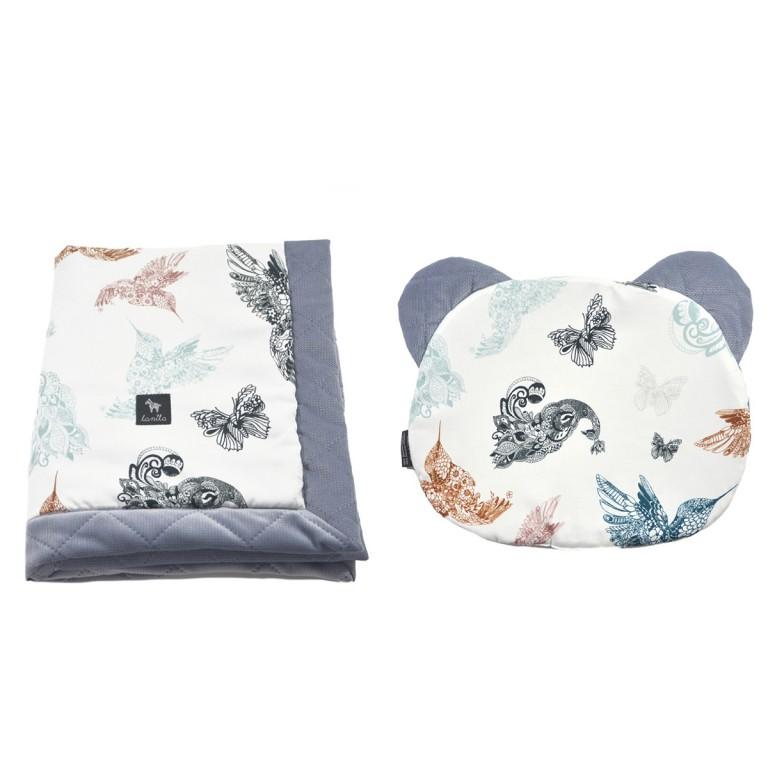 Zestaw Kocyk Velvet 60x70cm + Poduszka Miś Grey Mandala Birds