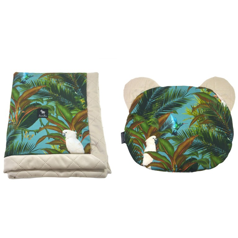 Zestaw Kocyk Velvet 60x70cm + Poduszka Miś Latte Tropical
