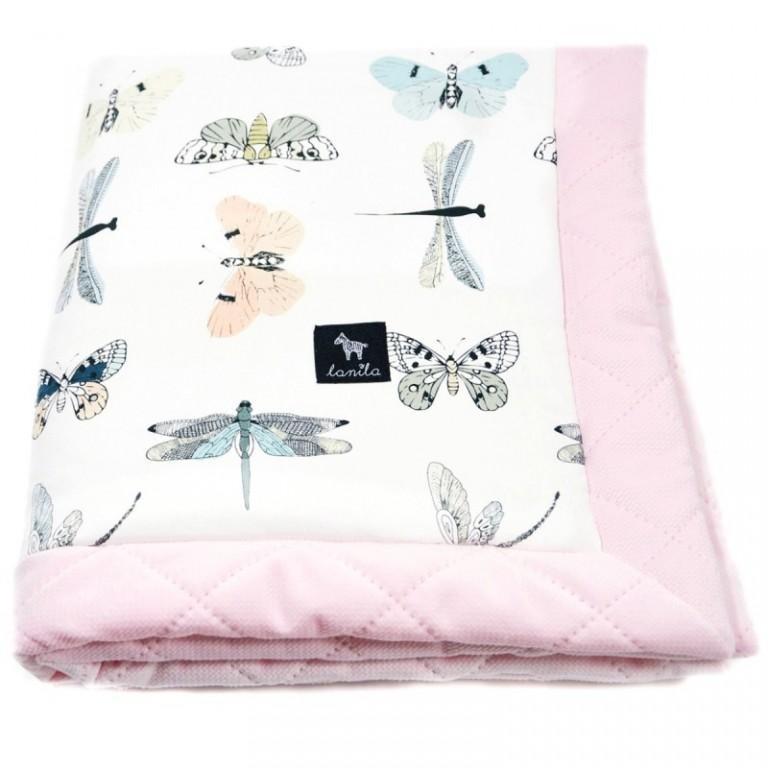 Zestaw Kocyk Velvet 60x70cm + Poduszka Miś Pink Wings