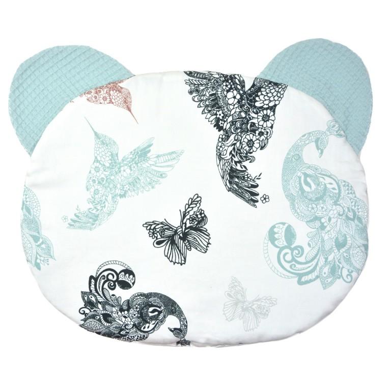Poduszka Miś - Wafel Pastel Mint Mandala Birds