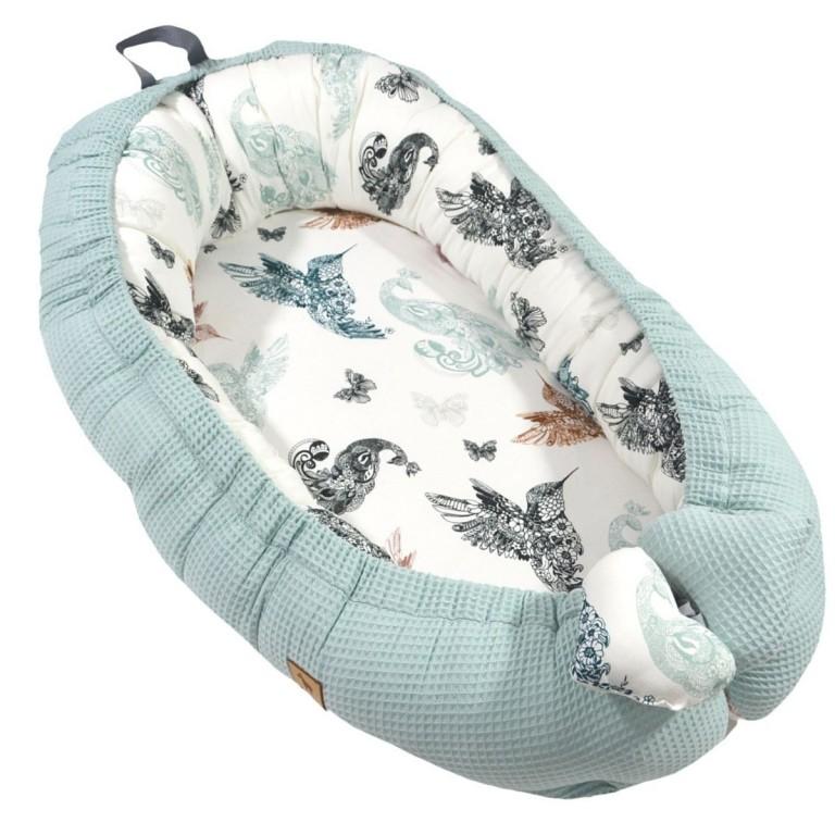 Baby Nest Pastel Mint Mandala Birds - Waffel