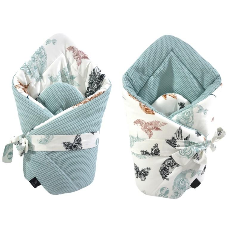 Cone Coverlet Pastel Mint Mandala Birds - Waffel