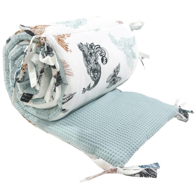 Ochraniacz do łóżeczka 70x140cm - Wafel Pastel Mint Mandala Birds