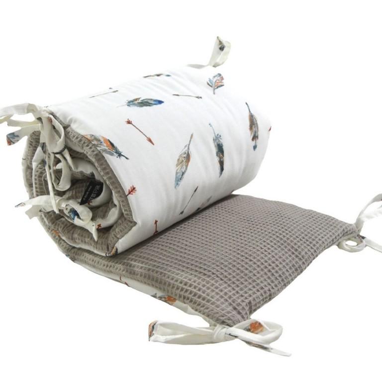 Ochraniacz do łóżeczka 60x120cm - Wafel Taupe Grey Pure
