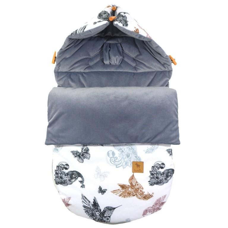 Śpiworek Zimowy Grey Mandala Birds S/M (0-1 roku)