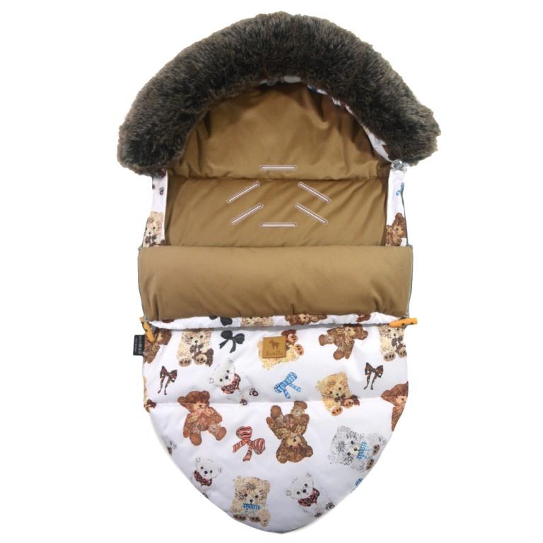 Śpiworek Zimowy z Futrem Caramel Teddy Velvet S/M (0-1 roku)