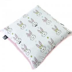 Poduszka Minky - Bawełna Dusty Rose Face the Bunny 40 x 40cm z zamkiem