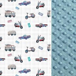 Poduszka Minky - Bawełna French Blue Born to Drive 40 x 40cm z zamkiem
