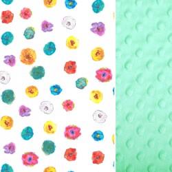 KOŃCÓWKA KOLEKCJI - Kocyk Light Mint Flowerland 75 x 100cm