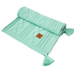 Knitted Blanket 75x100cm Mint Fancy