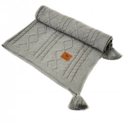Knitted blanket 100x130cm Grey Fancy