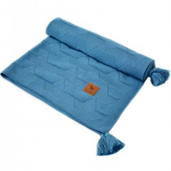 Knitted blanket 100x130cm Navy Paper Boats