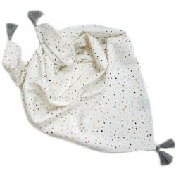 Bawełniana Chusta Mini Dots + frędzle grey