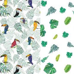 Pościel bawełniana Tukan/Green Flakes 90 x 120cm