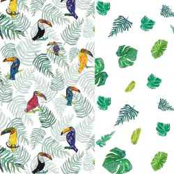 Pościel bawełniana Tukan/Green Flakes 100 x 135cm