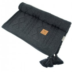 Knitted Blanket 75x100cm Dark Grey Fancy